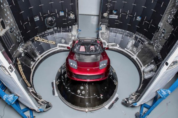 Spaceman X Tesla Roadster in Falcon Heavy