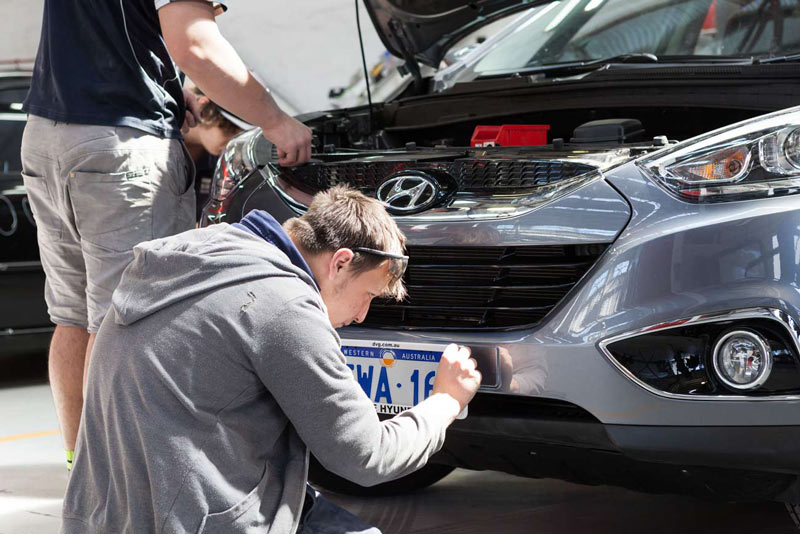 Car Bumper Being Repaired
