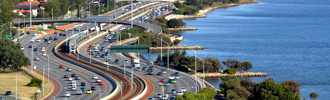 Shot of Perth's Kwinana Freeway
