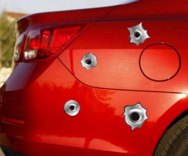 fake bullet hole stickers worst car accessory