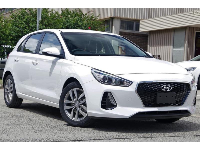 A white Hyundai i30 on display